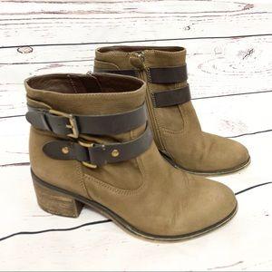 Franco Sarto Linden Bootie Taupe Suede Leather 7.5